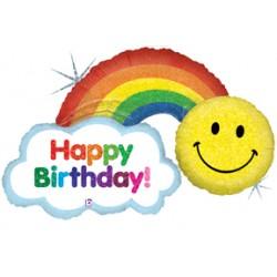 "Happy Birthday Rainbow Foil Balloon - 44""W x 29""H"