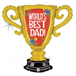 "World's Best Dad Trophy Holographic Foil Balloon - 30"" W x 31"" H"