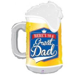 "Great Dad Beer Mug Foil Balloon - 28"" W x 38"" H"