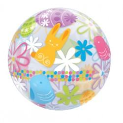 "Spring Bunnies & Flowers 22"" Bubble Balloon"