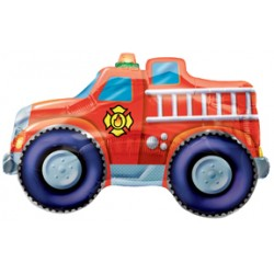 "Rescue Team Fire Engine Foil Balloon - 35"" W x 21"" H"