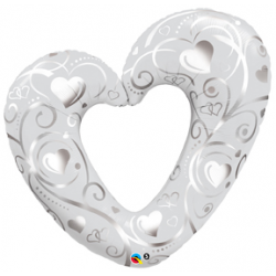 "Hearts & Filigree Pearl White Foil Balloon - 43""W x  37""H"