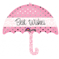 "Best Wishes Umbrella Foil Balloon - 30""W x 24""H"