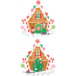 "Gingerbread House Foil Balloon - 36""W x 36""H"