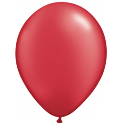 "11"" Round Pearl Ruby Red Latex Balloon (with helium)"
