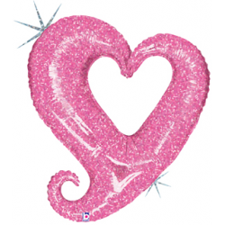 "Chain of Hearts Foil Balloon - Pink 40""W x 37""H"