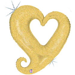 "Chain of Hearts Foil Balloon - Gold 40""W x 37""H"