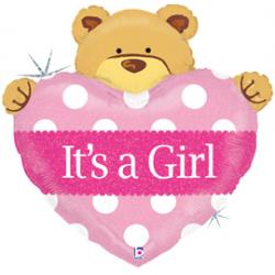 "Baby Girl Big Heart Bear Foil Balloon - 39.5""W x 40""H"