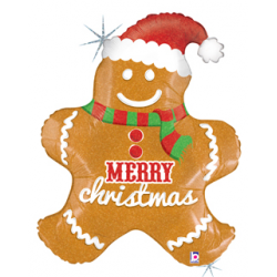 "Gingerbread Christmas Foil Balloon - 24""W x 30""H"