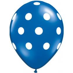 "11"" Round Big White Polka Dots Sapphire Latex Balloon (with helium)"