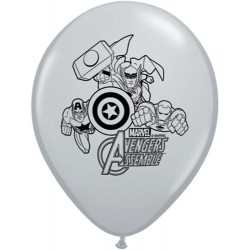 "Avengers Assemble 11"" Round Grey Latex Balloon (with helium)"