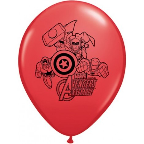 """Avengers Assemble 11"""" Round Red Latex Balloon (with helium)"""