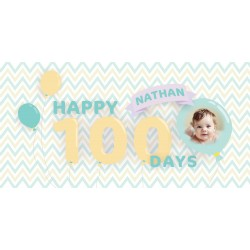 Personalized Balloon Boy Vinyl Banner with Photo