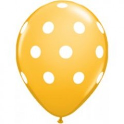 "11"" Round Big White Polka Dots Goldenrod Latex Balloon (with helium)"