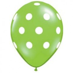 """11"""" Round Big White Polka Dots Lime Green Latex Balloon (with helium)"""