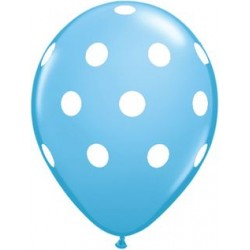 "11"" Round Big White Polka Dots Pale Blue Latex Balloon (with helium)"
