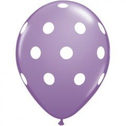"""11"""" Round Big White Polka Dots Spring Lilac Latex Balloon (with helium)"""