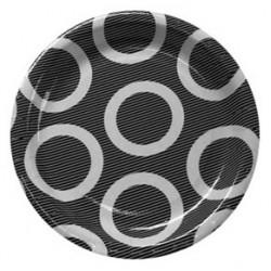 """Circle Black 9"""" Paper Plate, 10pcs"""