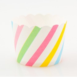 Paper Treat Cup in Slanting Stripes - Multicolor, 25 pcs