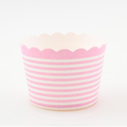 Paper Treat Cup in Horizontal Stripes - Pale Lilac, 25 pcs