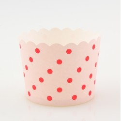 Paper Treat Cup in Red Polka Dots - Pink, 25 pcs