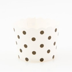 Paper Treat Cup in Black Polka Dots - White, 25 pcs