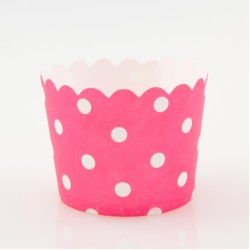 Paper Treat Cup in White Polka Dots - Rose Red, 25 pcs