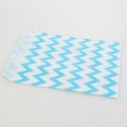 Paper Treat Bag in Chevron - Light Blue, 25 pcs