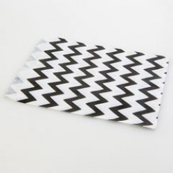 Paper Treat Bag in Chevron - Black, 25 pcs
