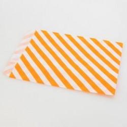 Paper Treat Bag in Stripes - Orange, 25 pcs