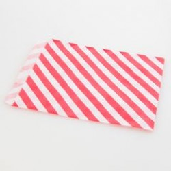 Paper Treat Bag in Stripes - Red, 25 pcs