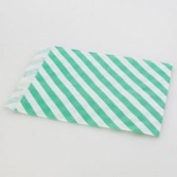 Paper Treat Bag in Stripes - Green, 25 pcs