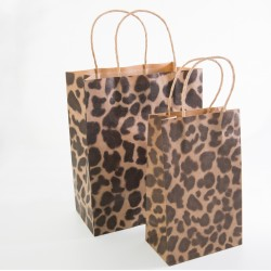 Paper Gift Bag - Leopard pattern, 10 pcs