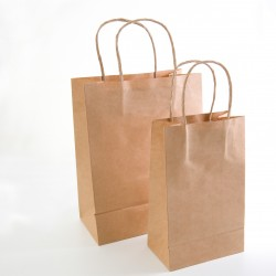 Paper Gift Bag - Beige, 10 pcs