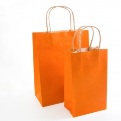 Paper Gift Bag - Orange, 10 pcs