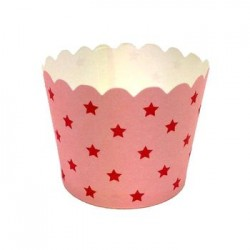 Paper Treat Cup in Pink with Red Stars, 25 pcs