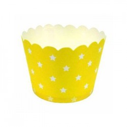 Paper Treat Cup in Yellow with White Stars, 25 pcs