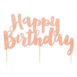 Cake Topper - Happy Birthday Rose Gold Glitter