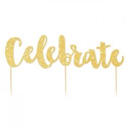 Cake Topper - Celebrate Gold Glitter