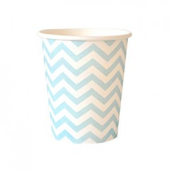 Chevron Blue 9oz Paper Cup, 12pcs