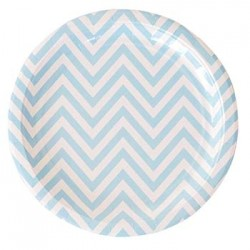 "Chevron Blue 9"" Paper Plate, 12pcs"