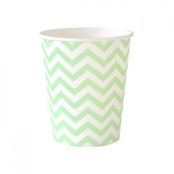 Chevron Green 9oz Paper Cup, 12pcs