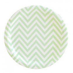"Chevron Green 9"" Paper Plate, 12pcs"
