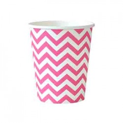 Chevron Hot Pink 9oz Paper Cup, 12pcs