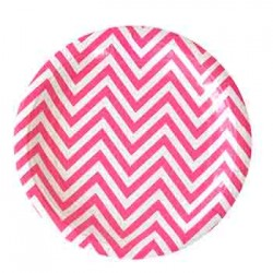 "Chevron Hot Pink 9"" Paper Plate, 12pcs"