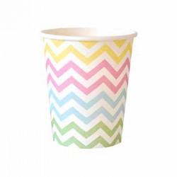 Chevron Pastel 9oz Paper Cup, 12pcs