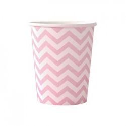 Chevron Pink 9oz Paper Cup, 12pcs
