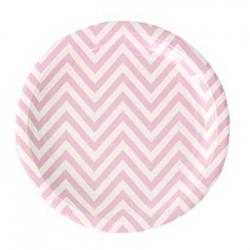 """Chevron Pink 9"""" Paper Plate, 12pcs"""
