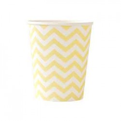 Chevron Yellow 9oz Paper Cup, 12pcs