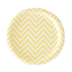 "Chevron Yellow 9"" Paper Plate, 12pcs"